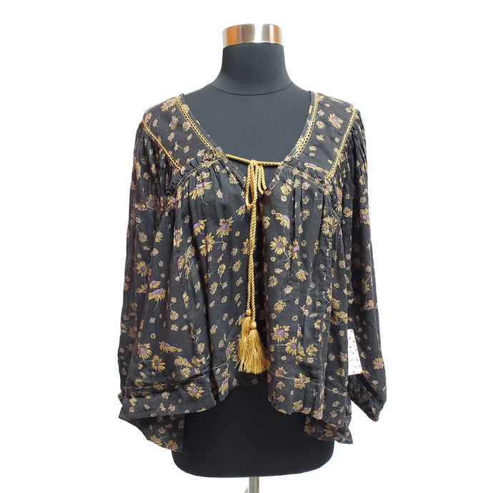 Free People Floral Peasant Blouse