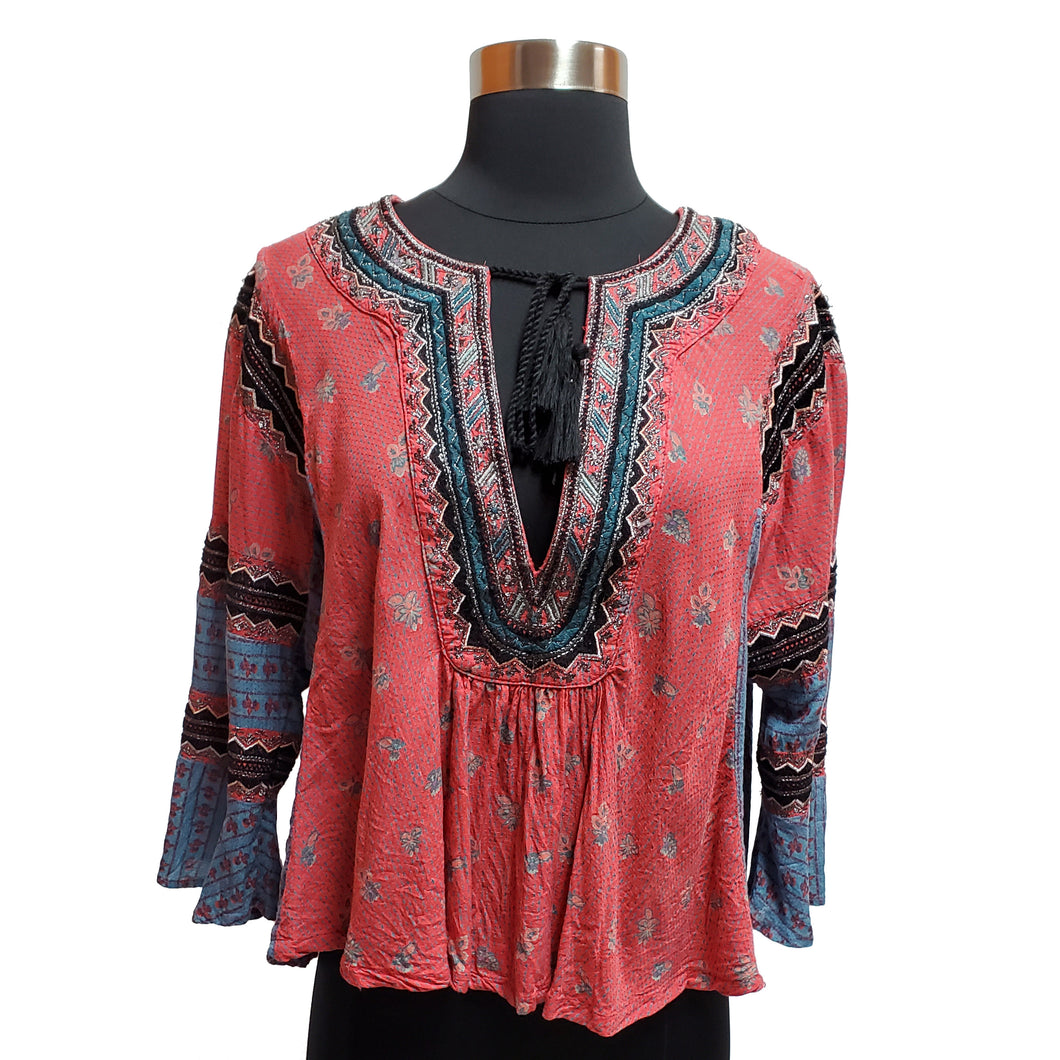 Free People Tassle Blouse