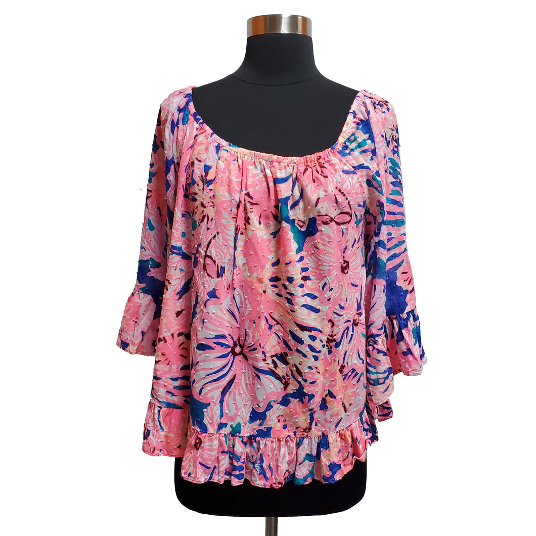 Lilly Pulitzer Textured Floral Blouse
