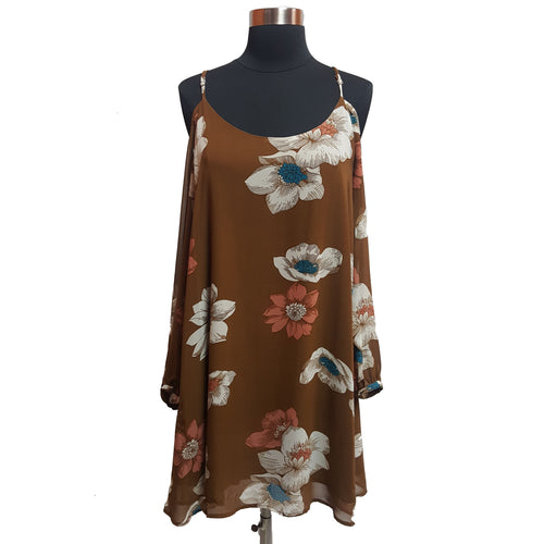 Leith Cold-Shoulder Floral Dress