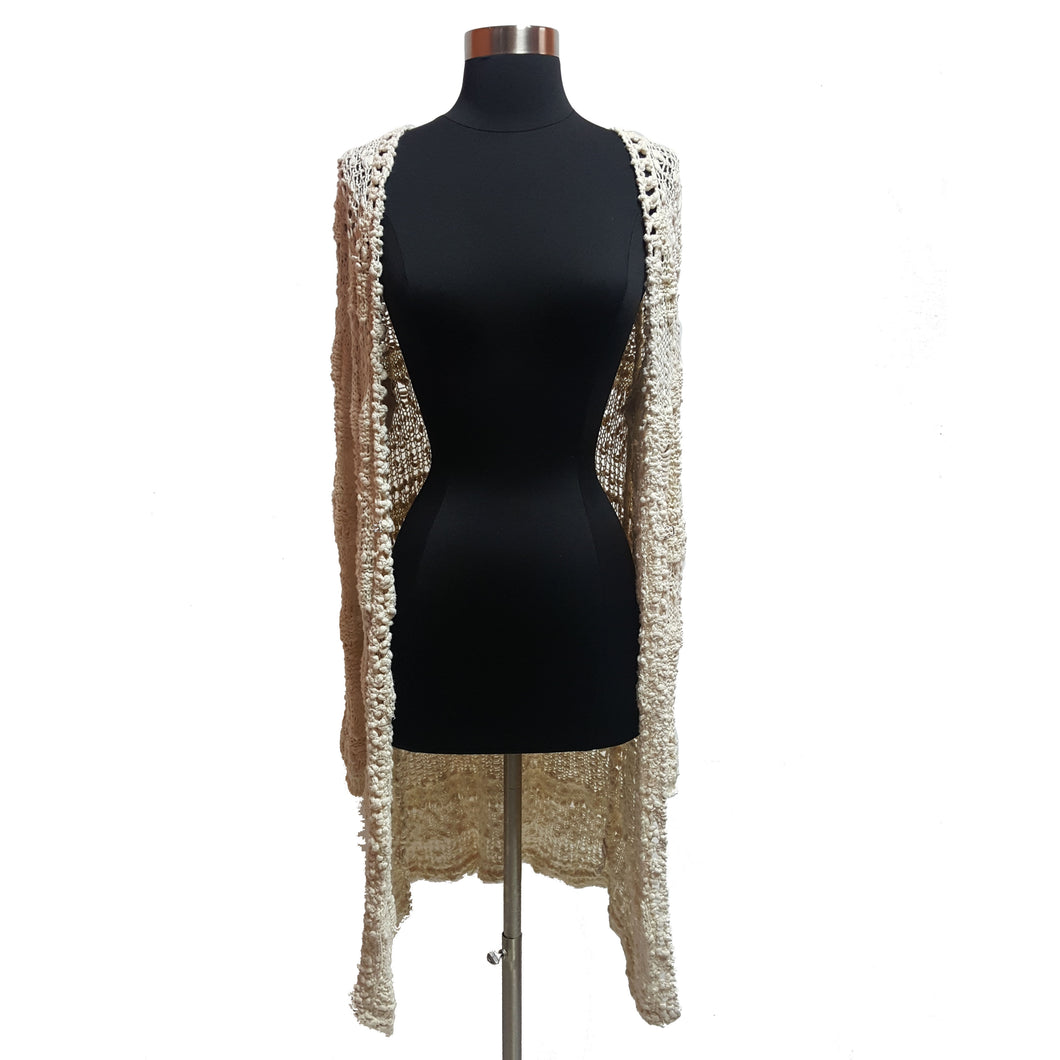 Free People Crochet Long Cardigan
