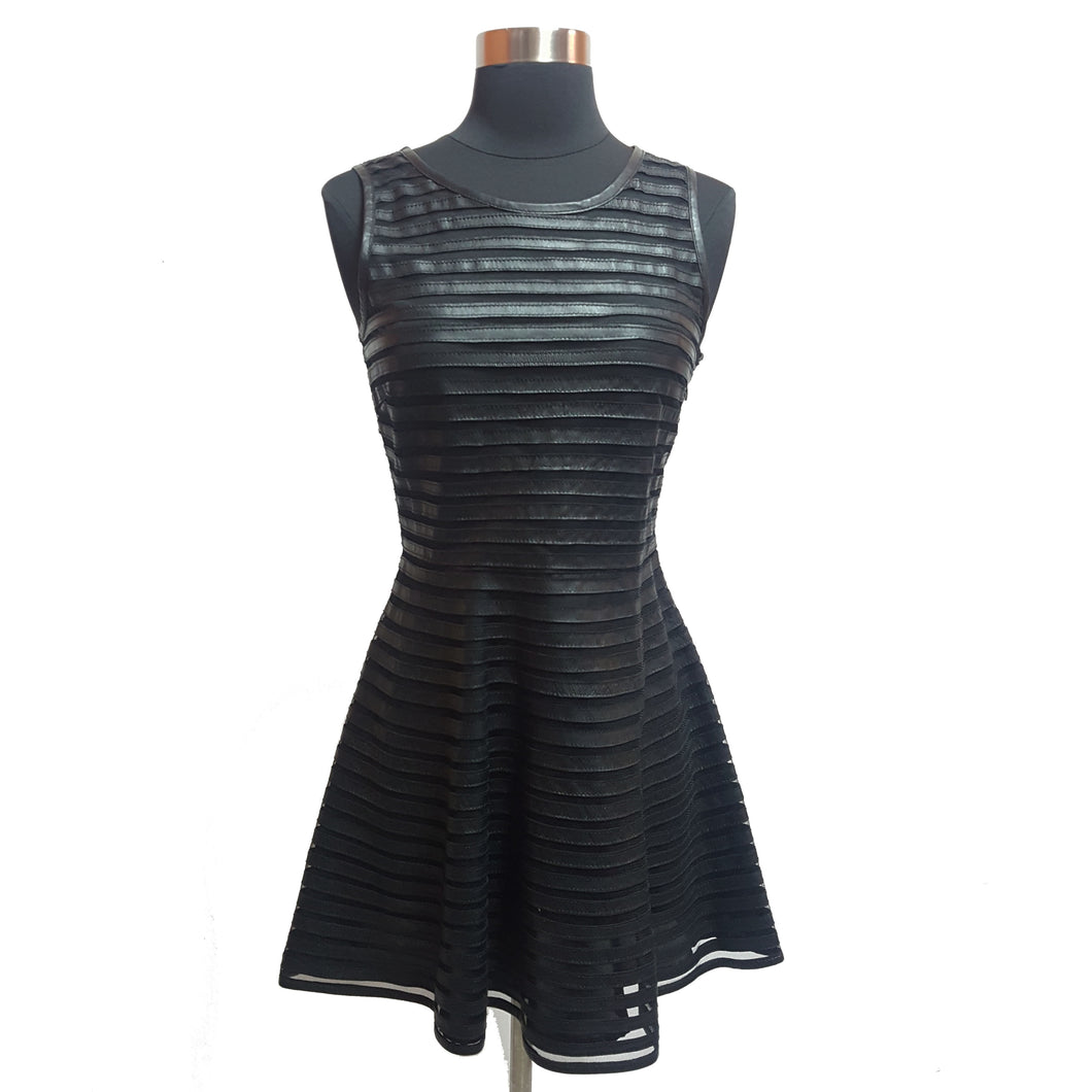 Leith Leather and Mesh Striped Dress