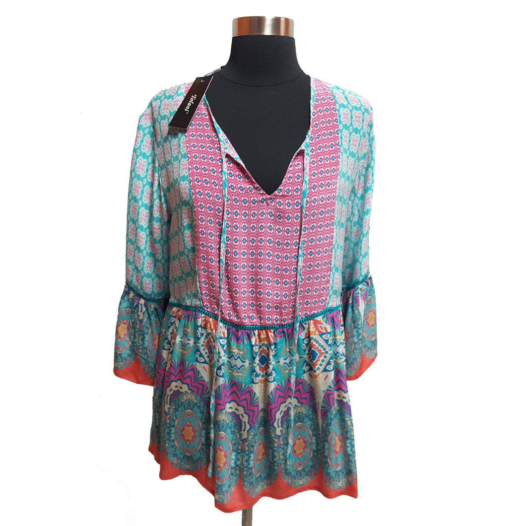 Tolani Pattern Peasant Top
