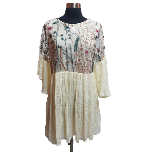 Umgee Embroidered Sheer Overlay Dress