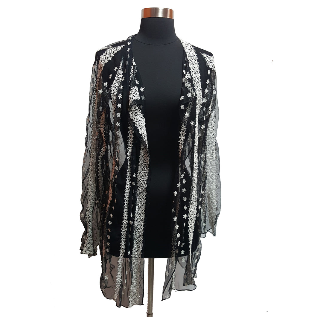 Shamask Embroidered Mesh Cardigan