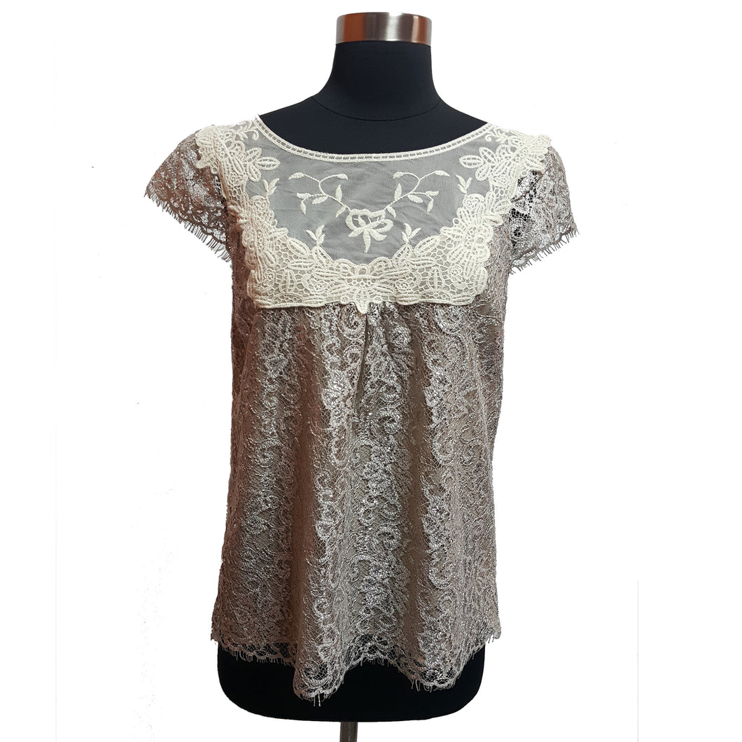HD in Paris from Anthropologie Metallic Lace Top