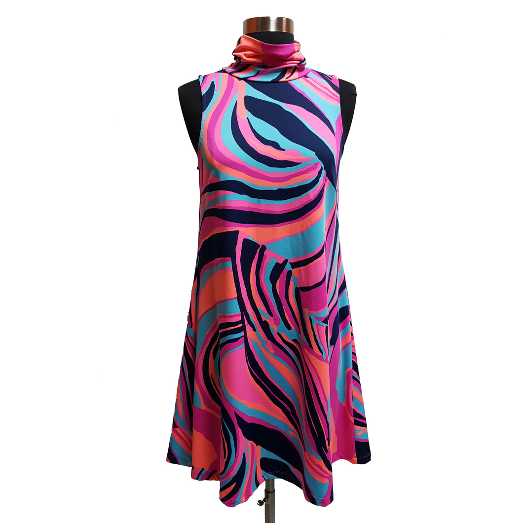 Julie Brown Pattern Cowl Neck Dress