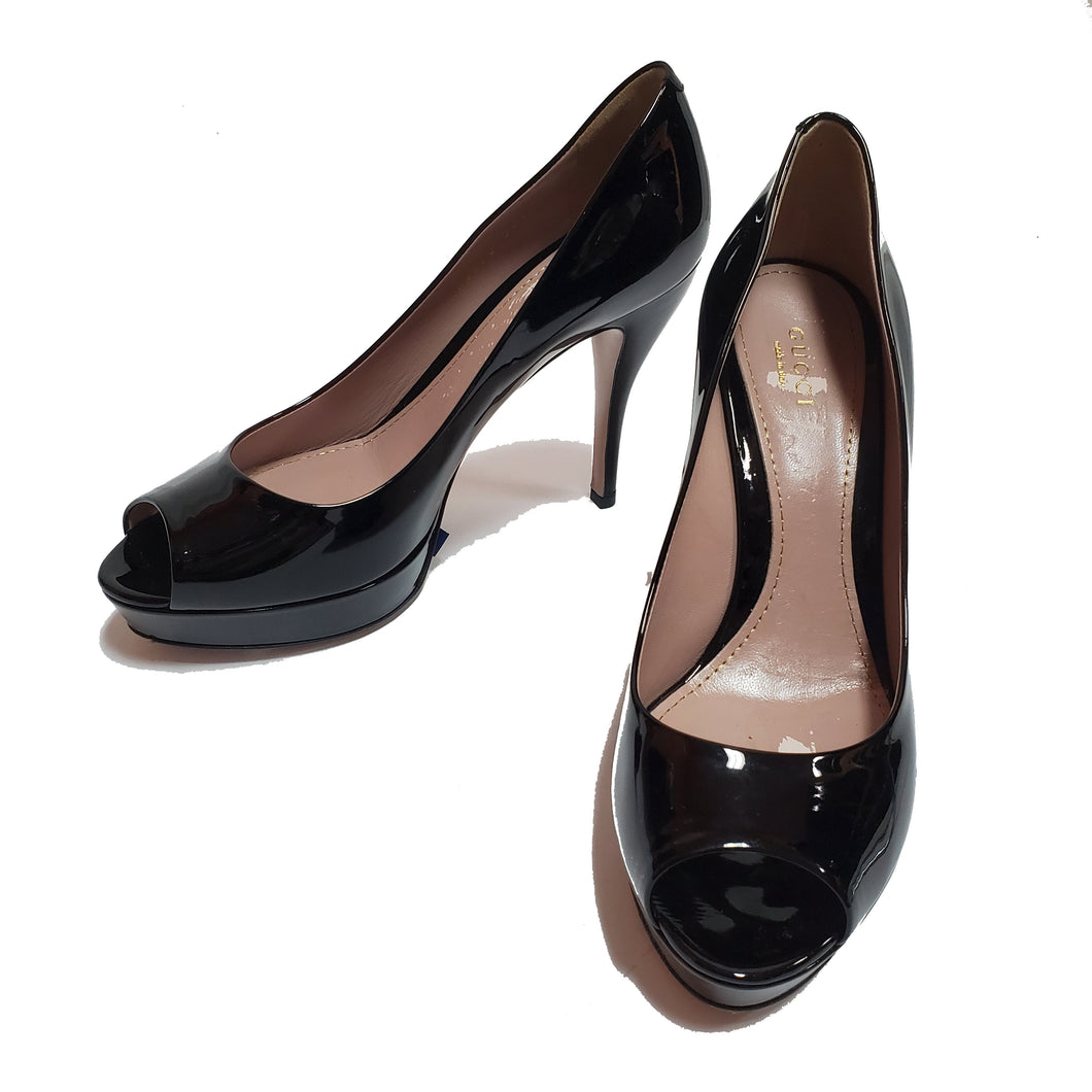 Gucci Patent Leather Peep Pumps