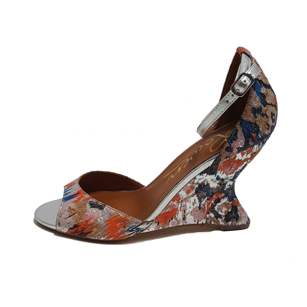 Rowen Metallic  Watercolor Wedge Heels