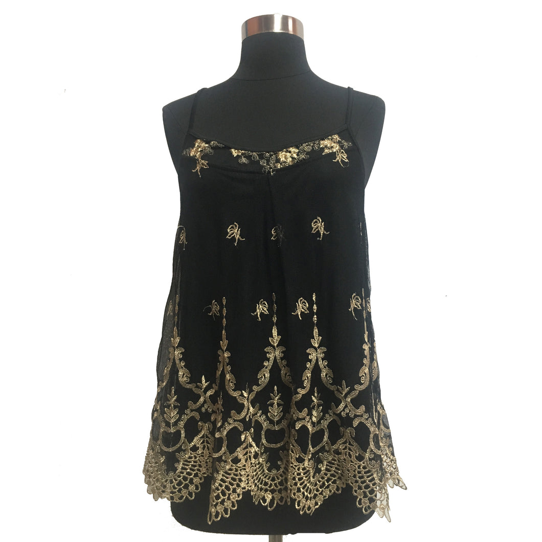 Altard State Metallic Embroidered Mesh Tank Top