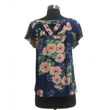 Maeve from Anthropologie Cut-Out Neck Floral Short Sleeved Top