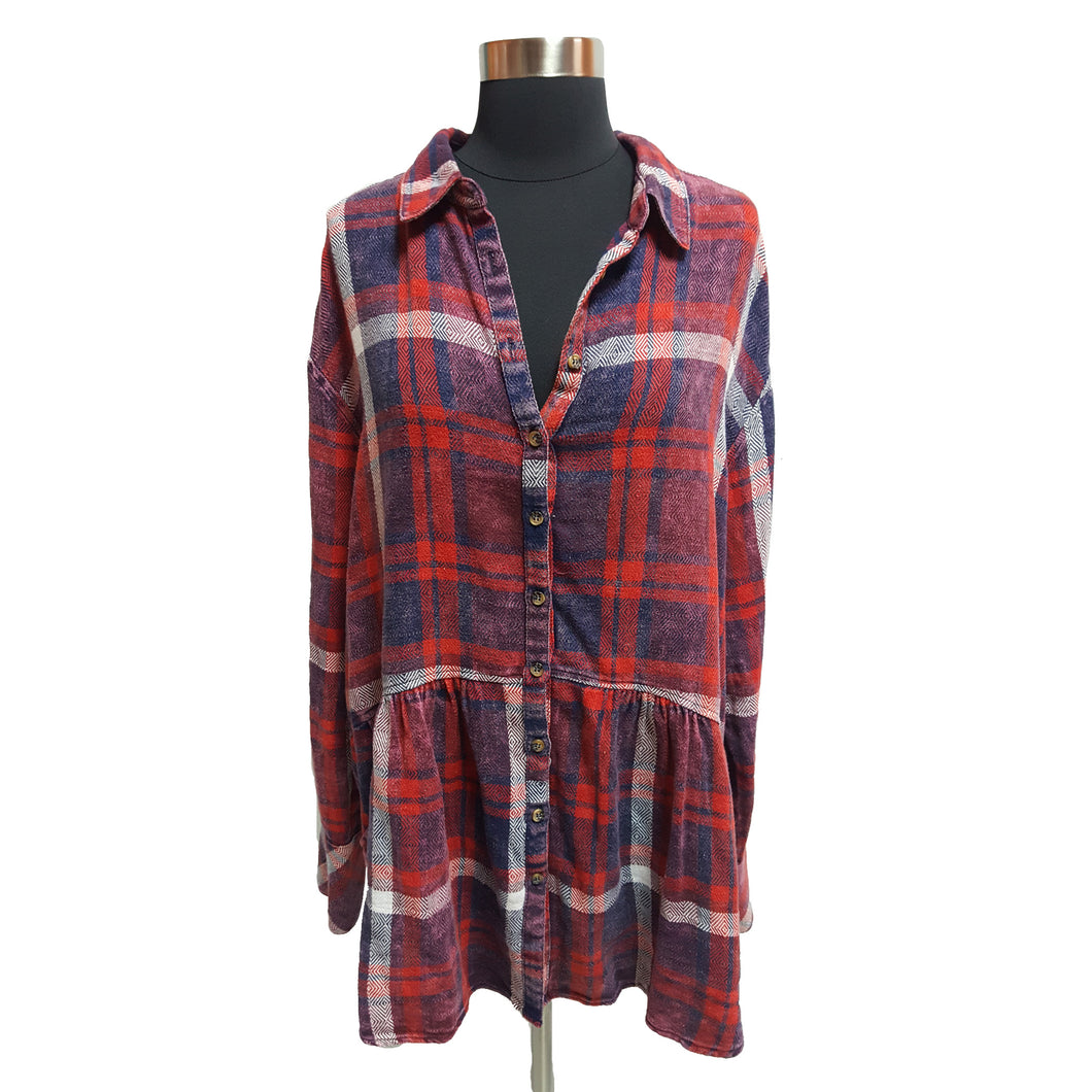 Free People Flannel Blouse