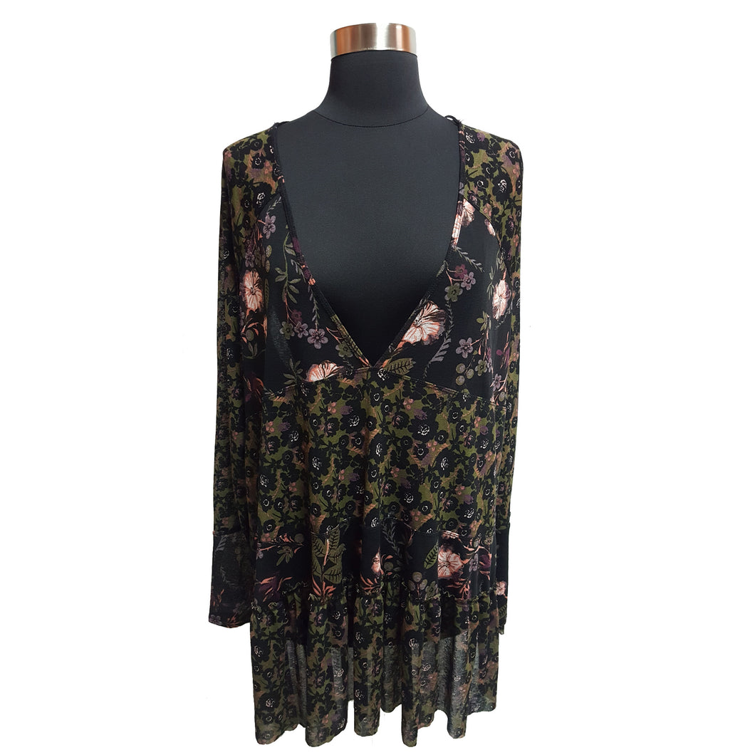 Free People Sheer Floral Blouse