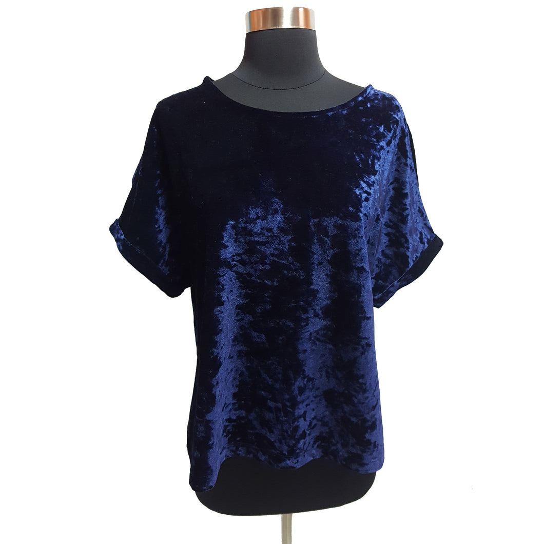 W5 Velvet Cold-Shoulder Top