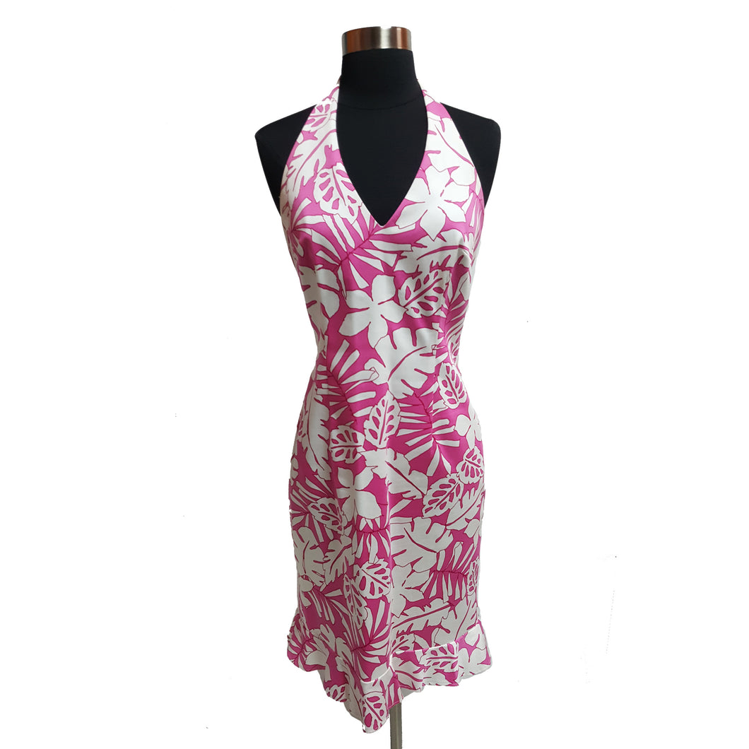 David Meister Palm Leaf Halter Dress