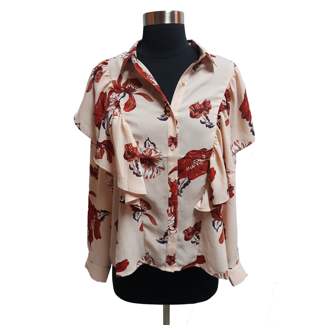 Leith Floral Ruffle Blouse