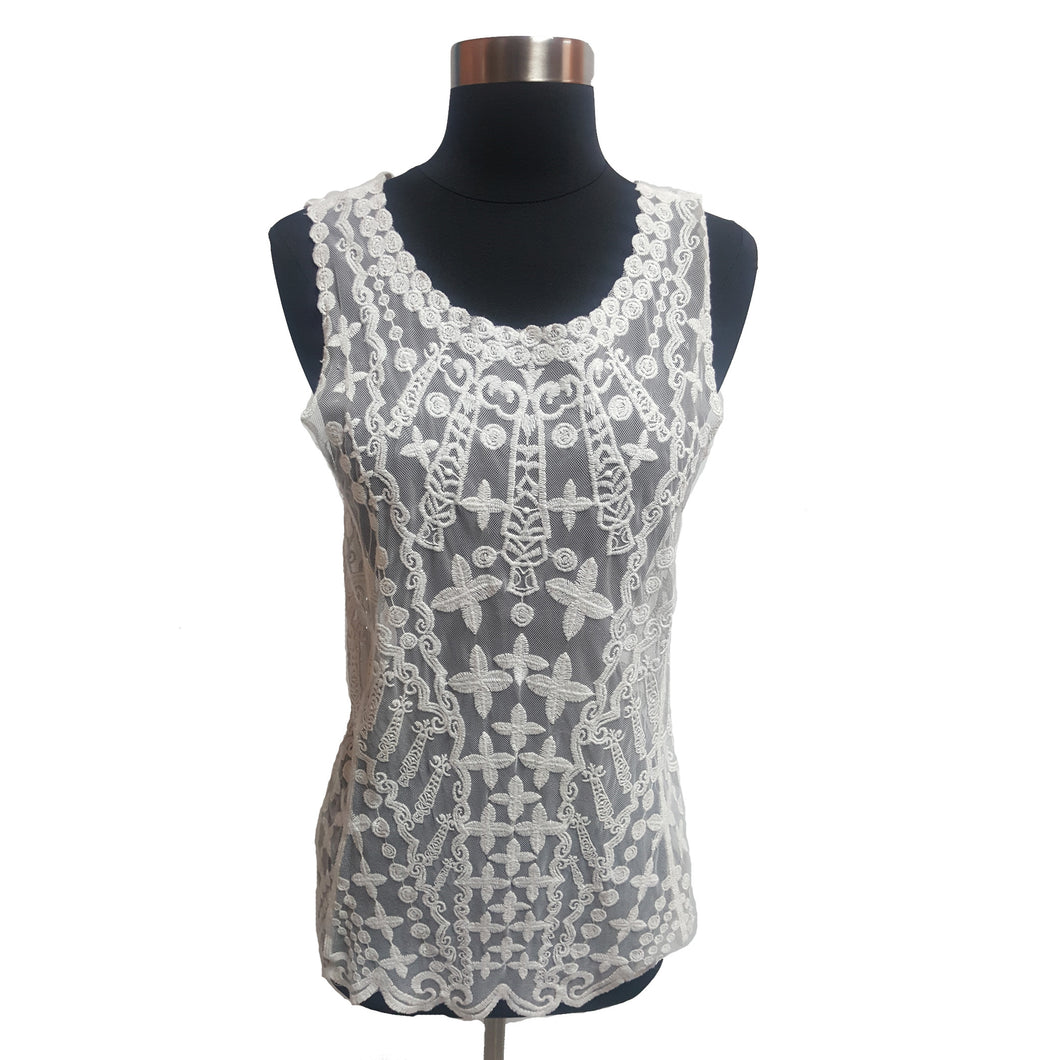 Laundry by Shelli Segal Crochet and Mesh Tank Top.