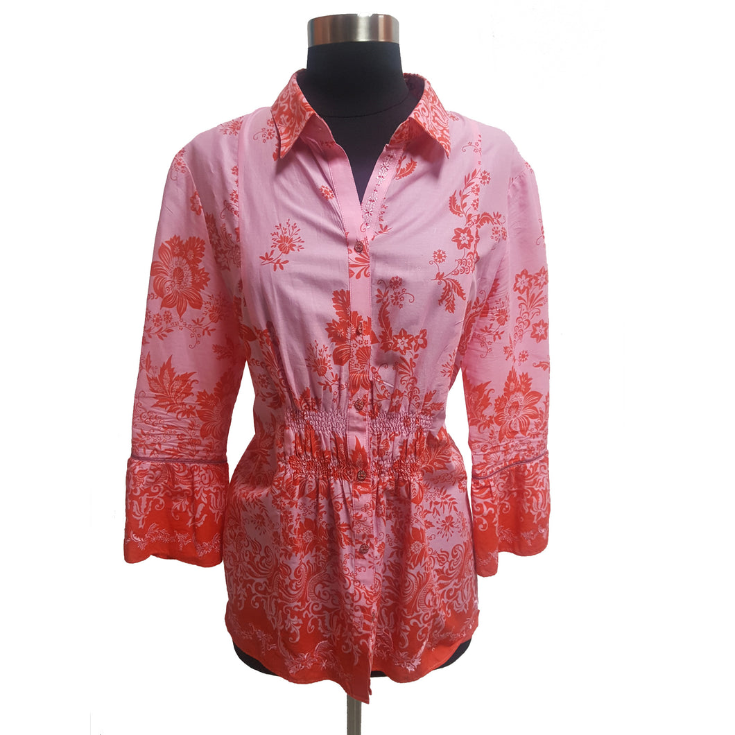 Robert Graham Pattern Three Quarter Bell-Sleeve Blouse
