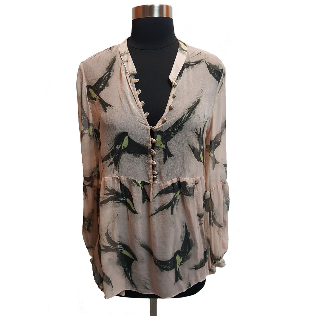 Akiko Sheer Bird Pattern Blouse
