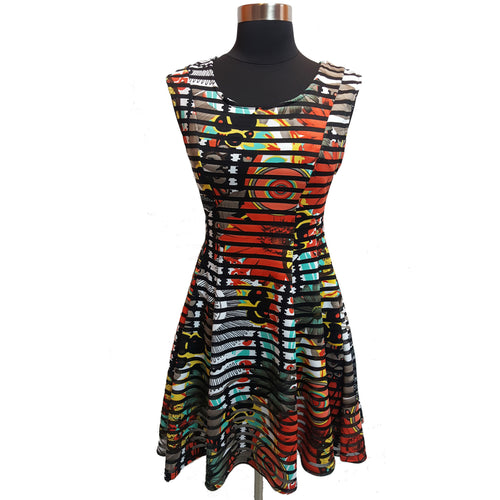 Black Bead Stripe Pattern Dress