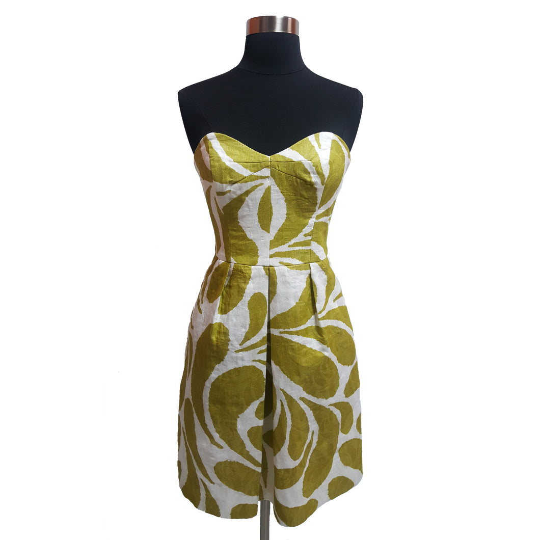 Milly Abstract Strapless Dress