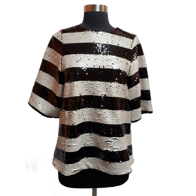 Blanque Label Sequin Striped Top
