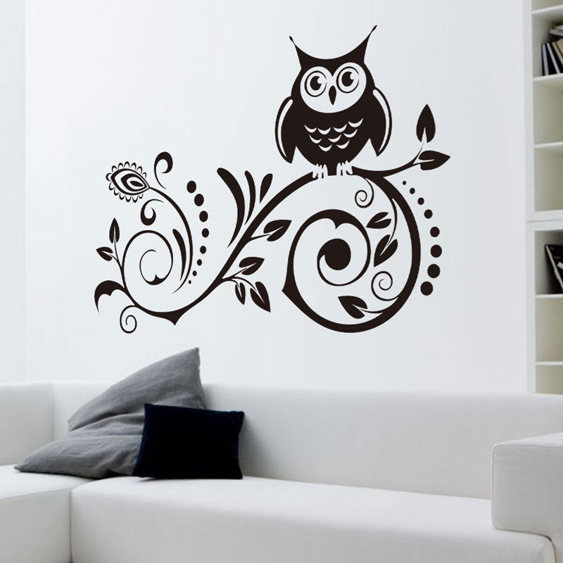 Flower Vine Owl Wall Decal