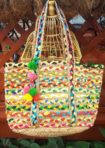 Hand woven multi colored Jute tote