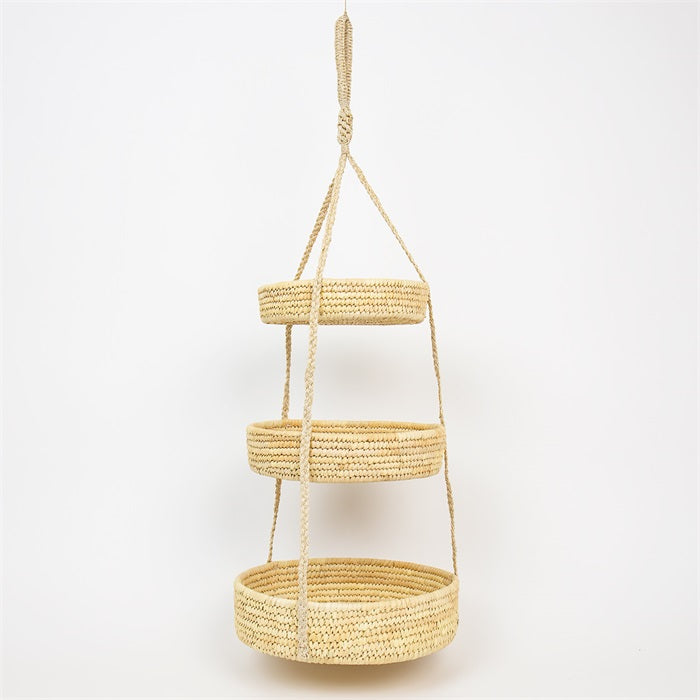 Fair-trade hangandi karfa / Fair-trade Palm triple Basket