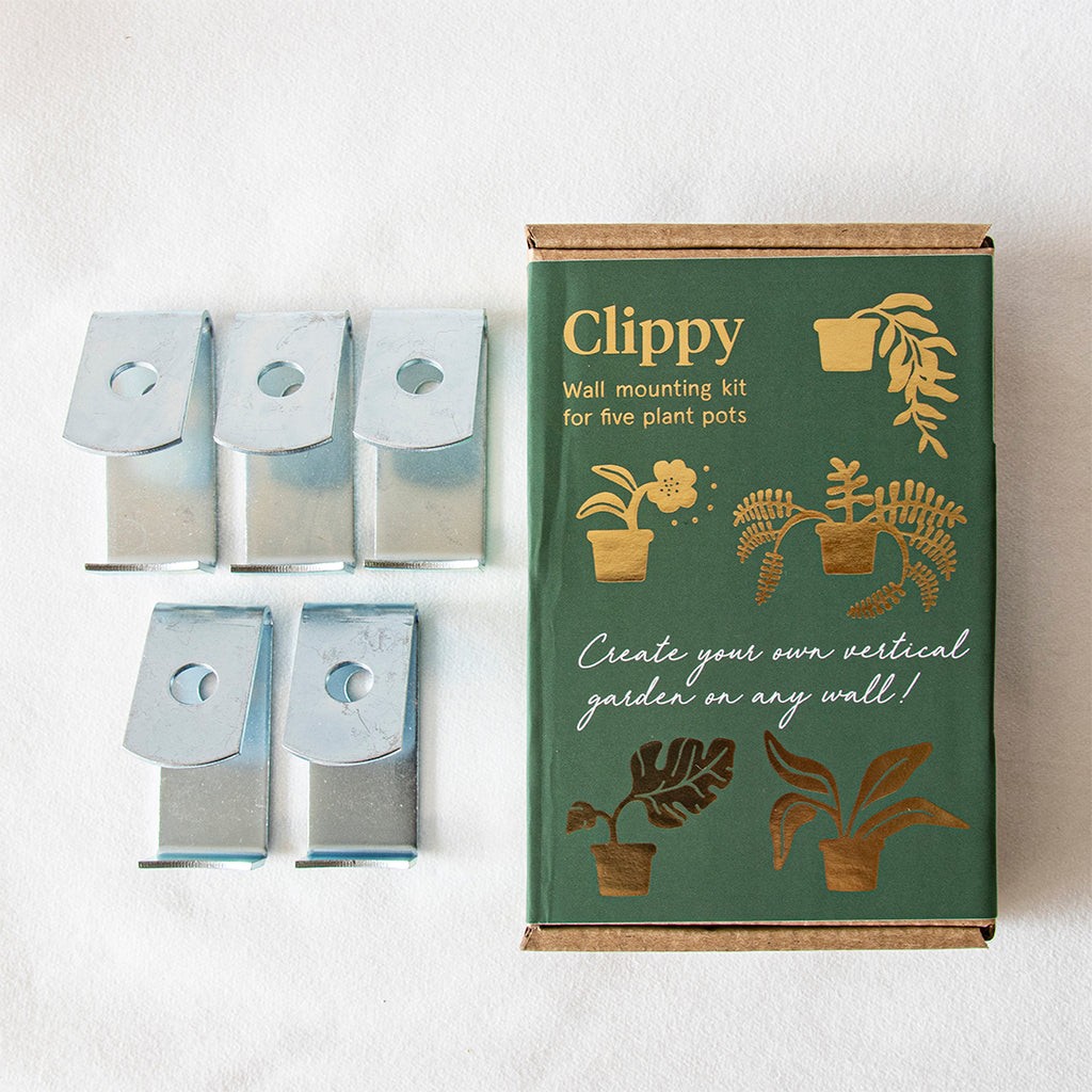 Clippy - Plöntuhengi á vegg fyrir 5 í potta / Wall mounting kit for 5 plant pots