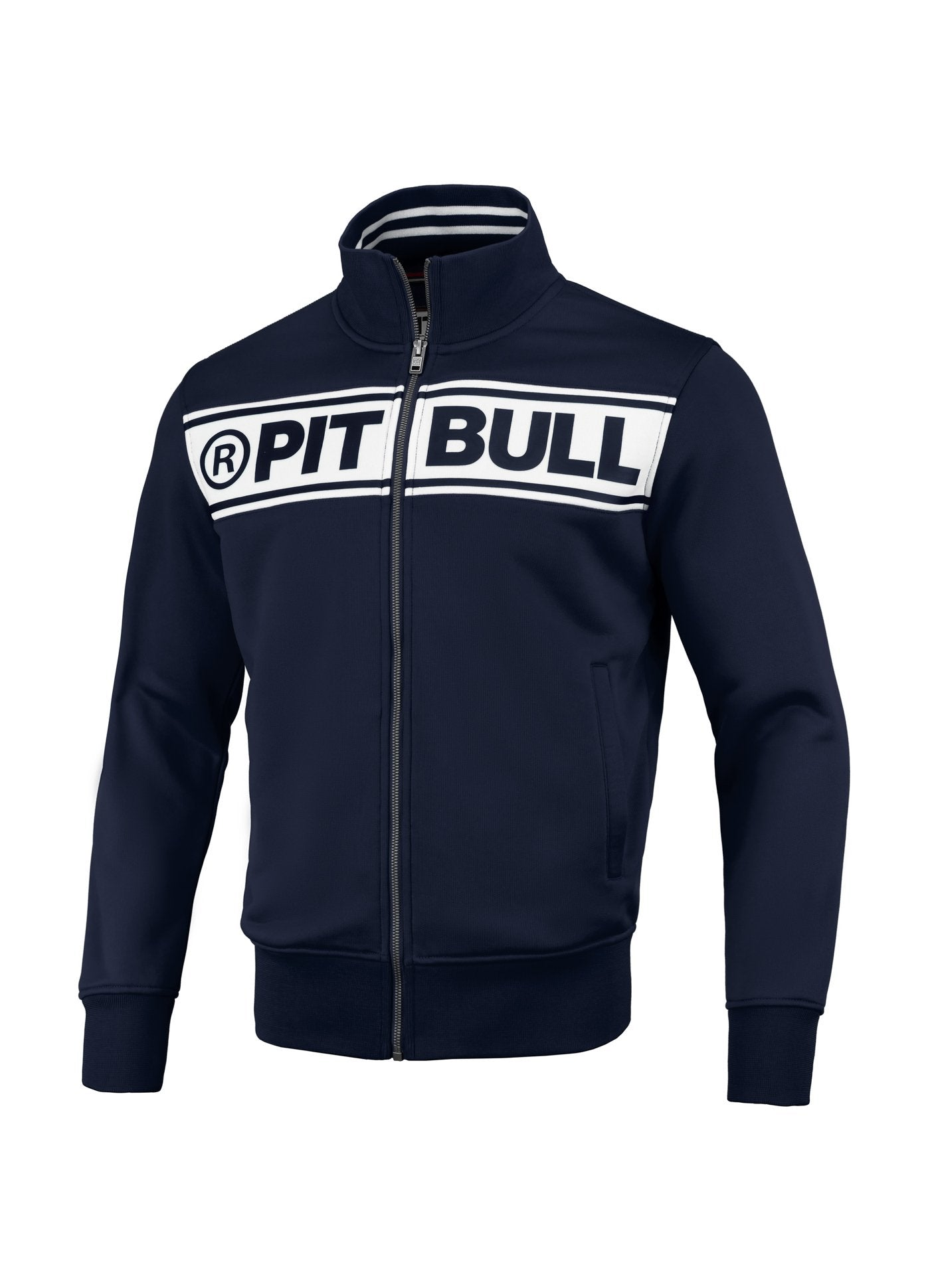 Oldschool Track Jacket Chest Logo Dark Navy Off White - pitbullwestcoast