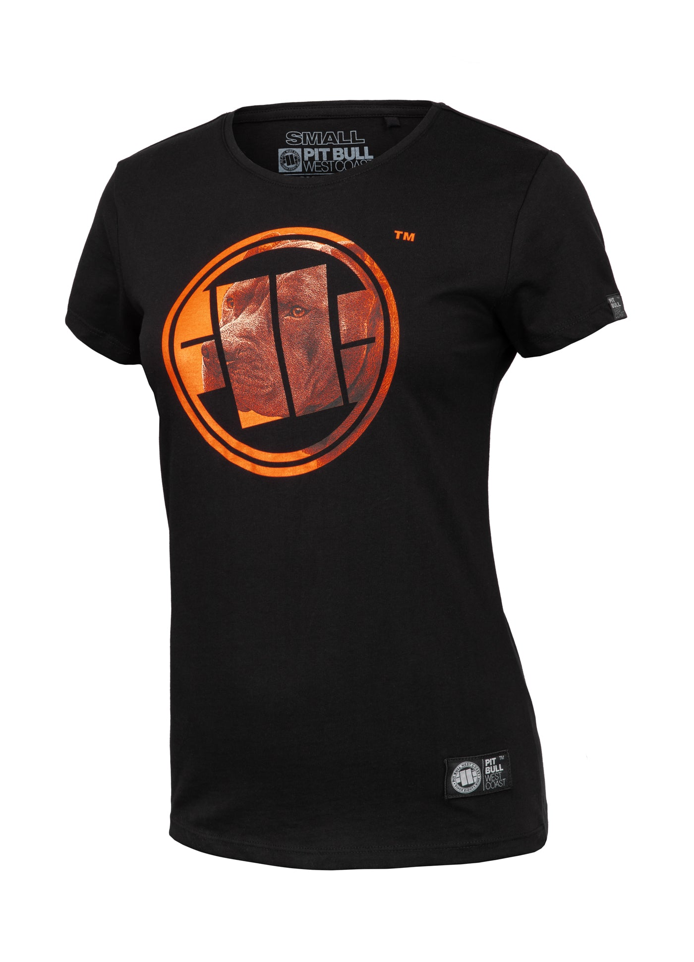 Women's T-shirt ORANGE DOG Black - pitbullwestcoast