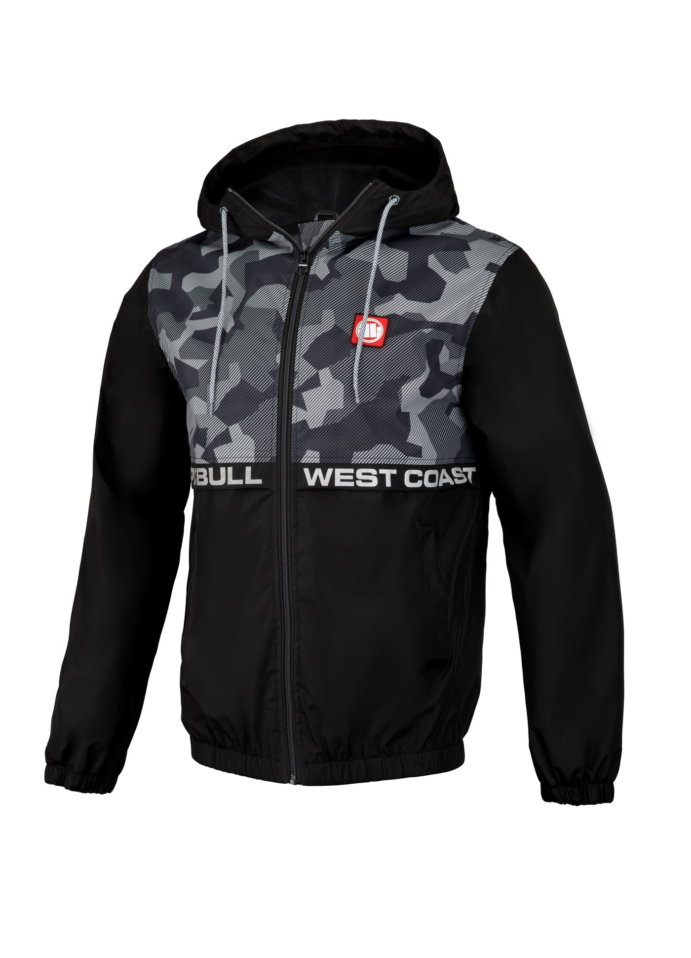 SHERWOOD Thick Hooded Nylon Jacket Black/Black Camo - pitbullwestcoast
