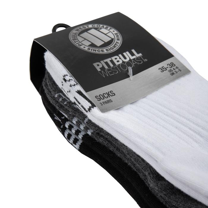 High Ankle Socks TNT 3pack White/Charcoal/Black