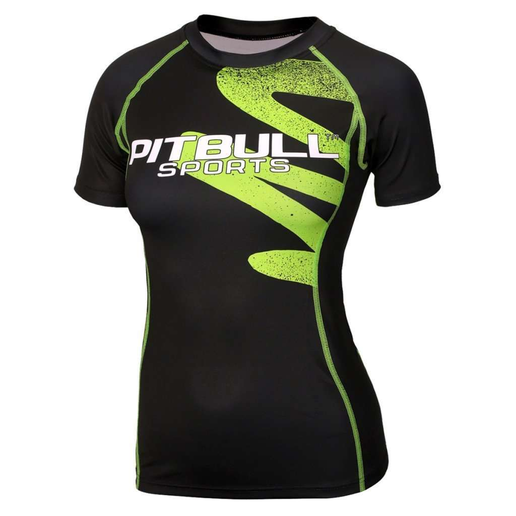 Women's RASHGUARD Shortsleeve ZIGZAG Green - pitbullwestcoast
