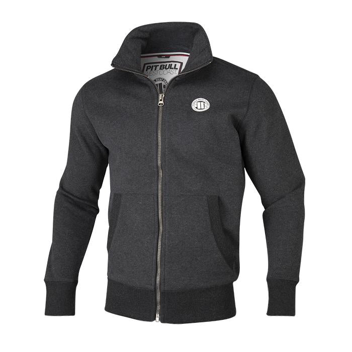 FULL ZIP SMALL LOGO CHARCOAL - pitbullwestcoast