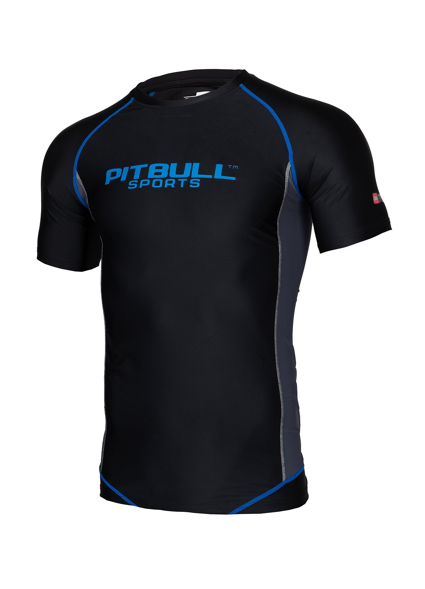 SHORTSLEEVE RASHGUARD PRO PLUS Black/Atomic Blue - pitbullwestcoast