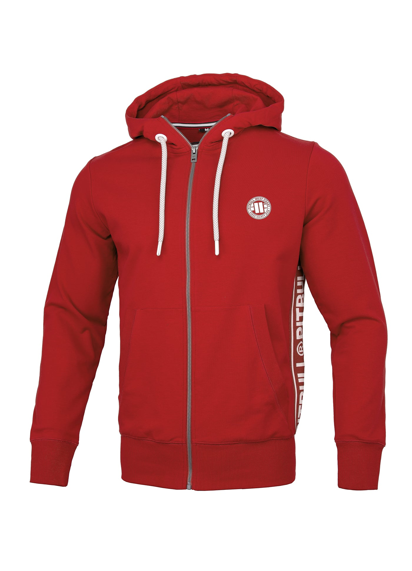Zipped hooded 'Small Logo' FRENCH TERRY Red - pitbullwestcoast