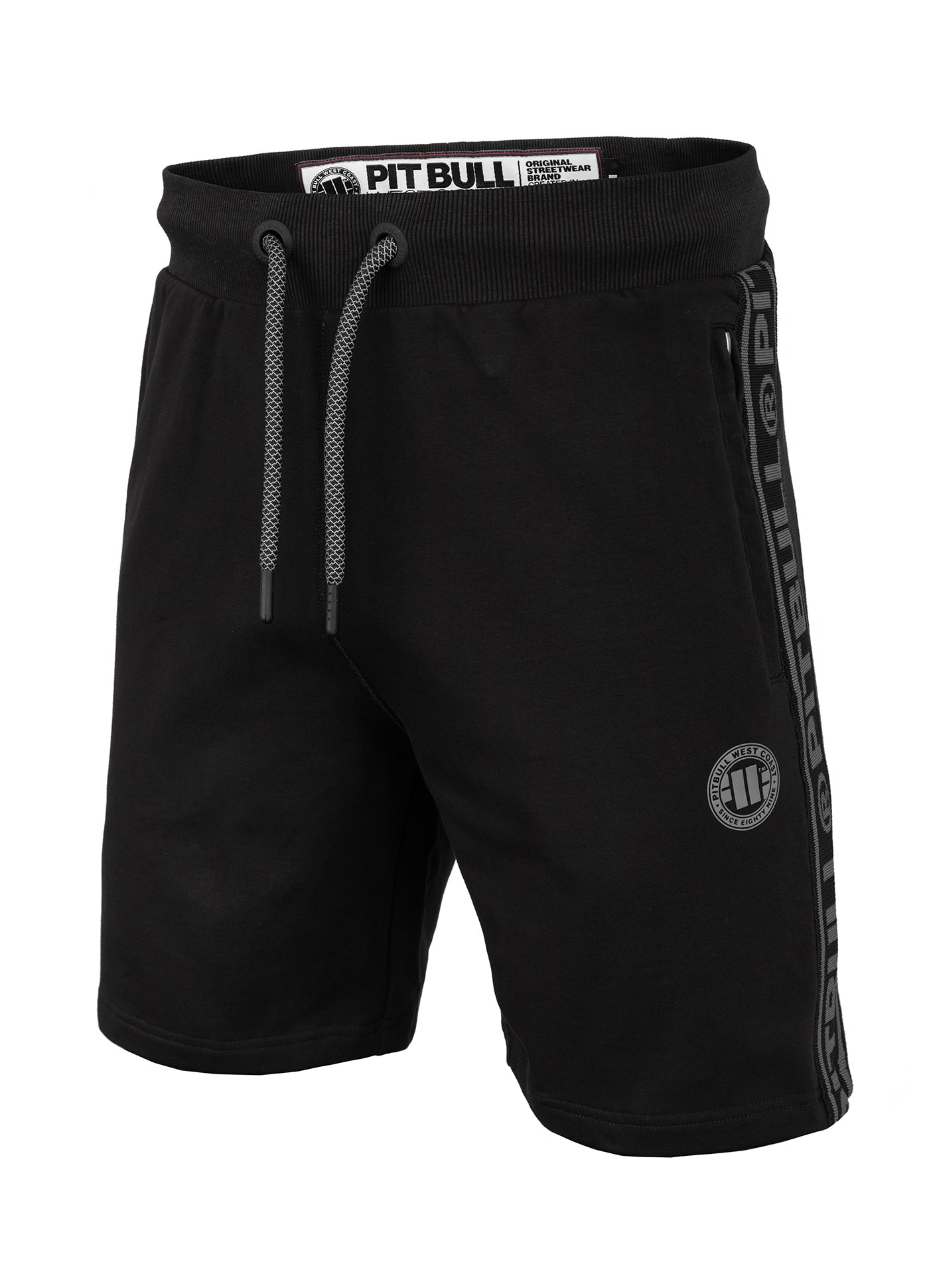 Shorts 'Small Logo' FRENCH TERRY Black - pitbullwestcoast
