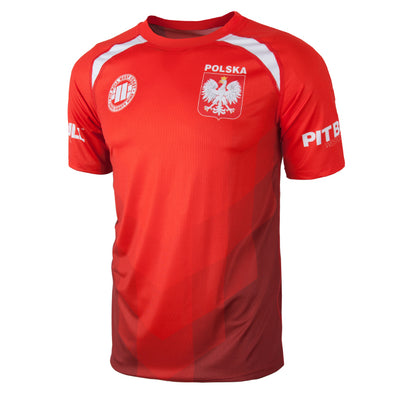 Mesh T-S PitbullSports Polska 18 in Red - pitbullwestcoast