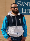 SHERWOOD Thick Hooded Nylon Jacket White/Dark Navy/Blue - pitbullwestcoast