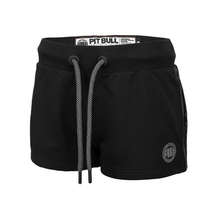 Women shorts 'Small Logo' FRENCH TERRY Black - pitbullwestcoast
