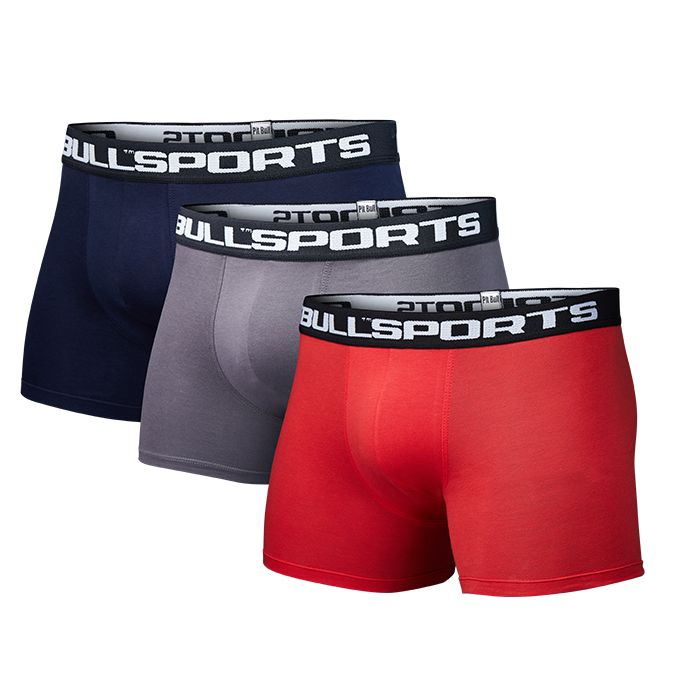 Pit Bull 3-pack Boxers Red/Graphite/D.Navy