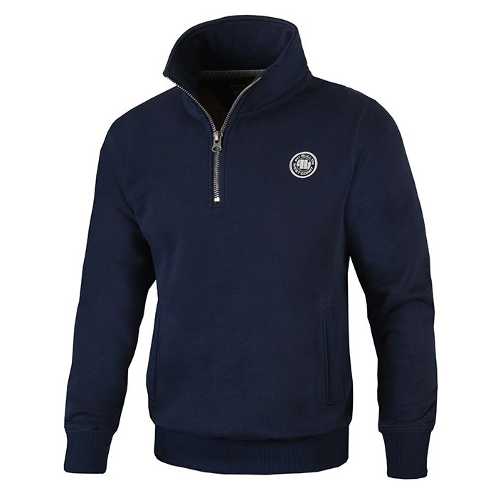 Half Zip Small Logo Sweatjacket Dark Navy - Pitbull West Coast  UK Store