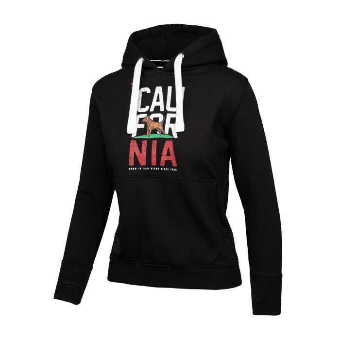 Women CAL FLAG Hoodie Black - pitbullwestcoast