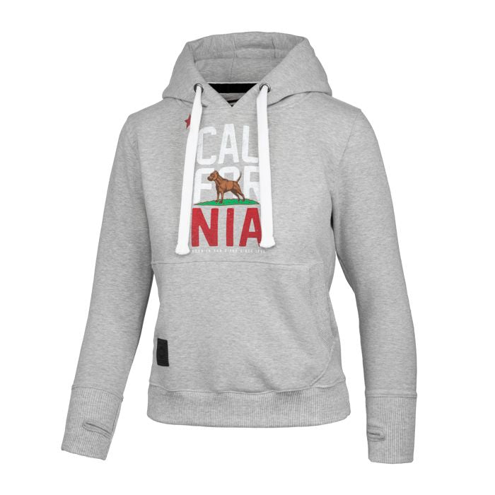 Women CAL FLAG Hoodie Grey - pitbullwestcoast