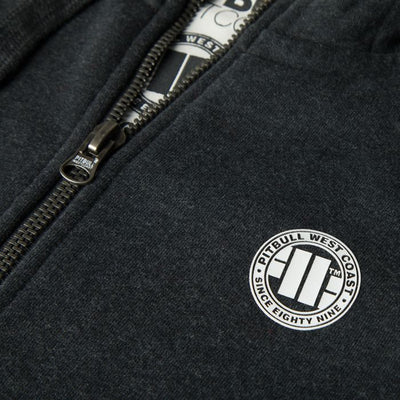 Hooded Zip Small Logo Sweatshirt 18 Charcoal