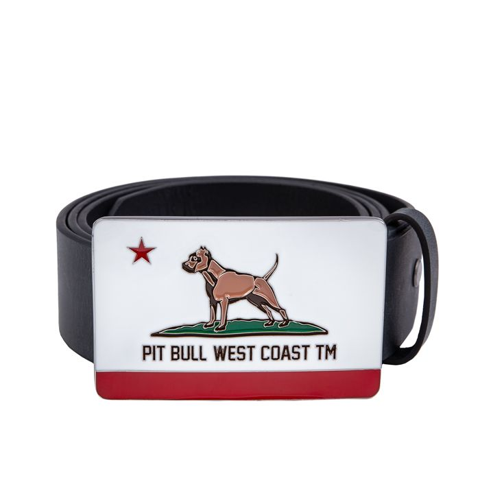 Leather Belt CALIFORNIA DOG Black - pitbullwestcoast