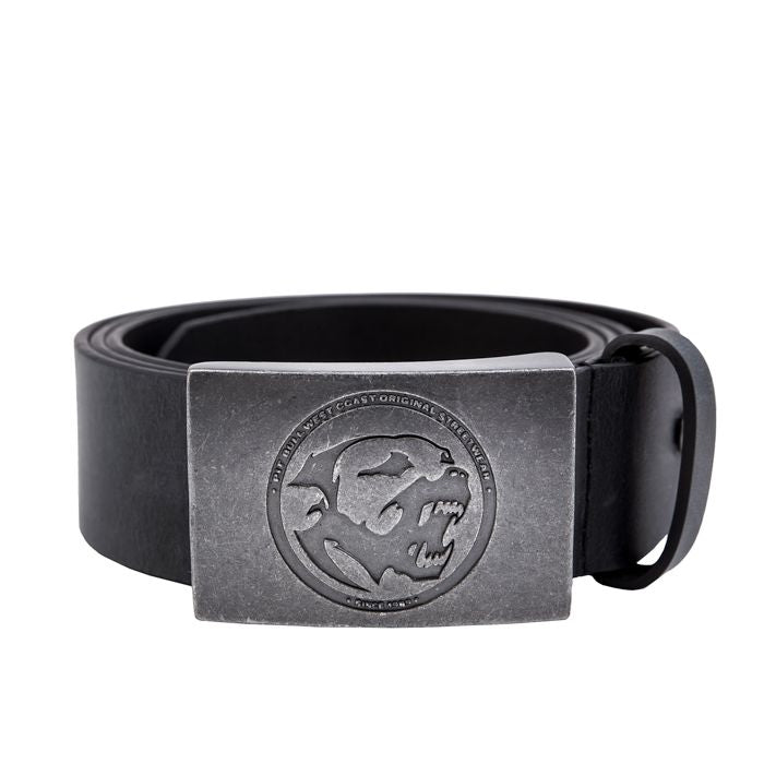 Leather Belt BONES Black - pitbullwestcoast
