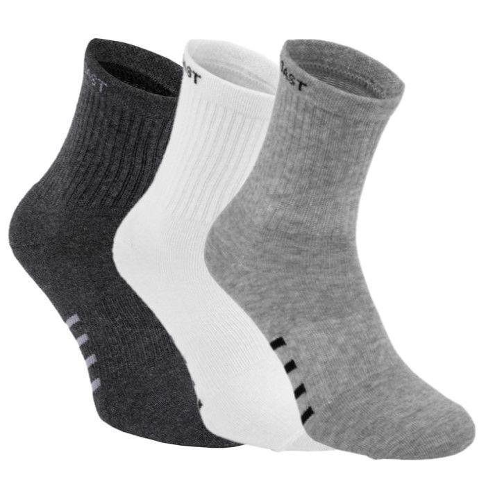 High Ankle Socks 3pack White/Grey/Charcoal - pitbullwestcoast
